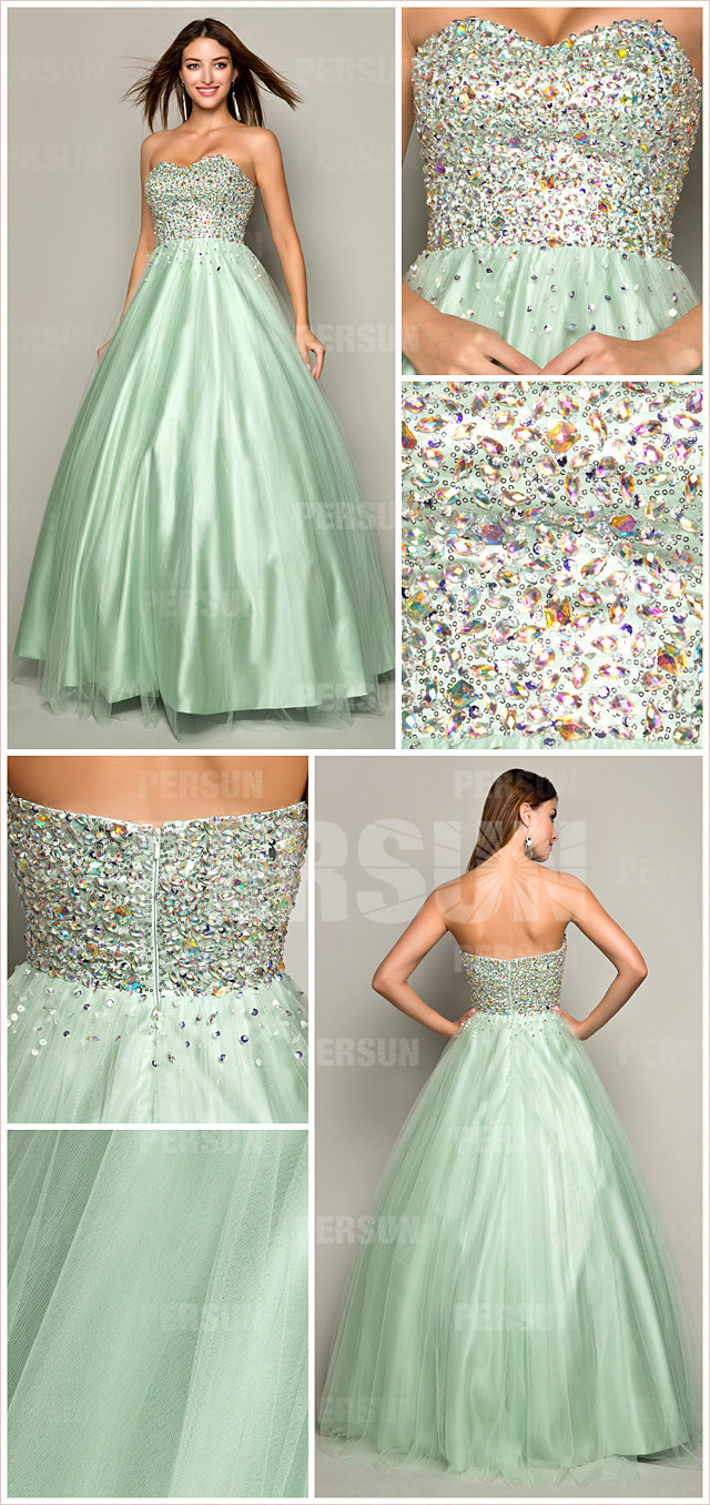 green tulle sweetheart beading A line long formal dress
