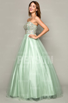 Tadcaster Tulle Sweetheart Long Mint Green Prom Gowns