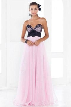 Norwich Elegant Chiffon V neck Hand made Flower Long Prom Dress
