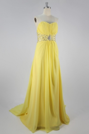Dressesmall Elegant Chiffon Strapless Beading Ruching A line Long Prom Dress