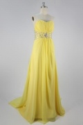 Elegant Chiffon Strapless Beading Ruching A line Long Prom Dress