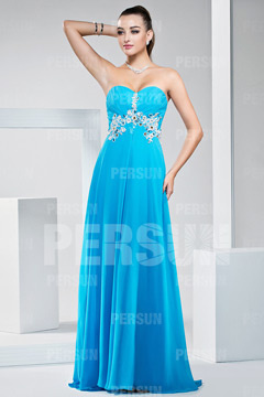 Swinton Exquisite Applique Sweetheart Long Blue Prom Gown