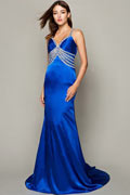 Noble Chiffon Spaghetti Straps V neck Beading A line Long Formal Dress