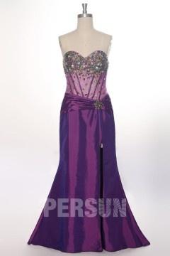 Robe de soirée fendue sirène bustier cœur bijoux colorés