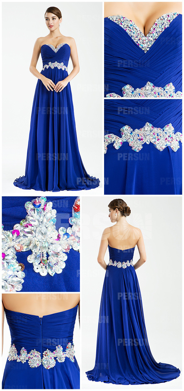 blue chiffon V neck beaded flowers A line formal dress