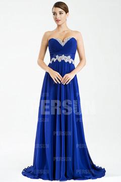 Beautiful Strapless Court Train Chiffon Long Blue Graduation Dress