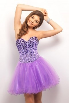 Sequins Bodice Lace Up Puff Skirt Short Blue Prom Dress