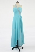 Gorgeous Chiffon One Shoulder Beading A line High Low Formal Dress