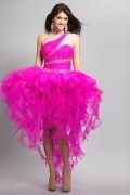 Tamworth Amazing Organza Beading Ruffle A line High Low Prom Dress