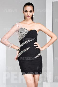 Bradford Black Sheath Beading Prom Dress