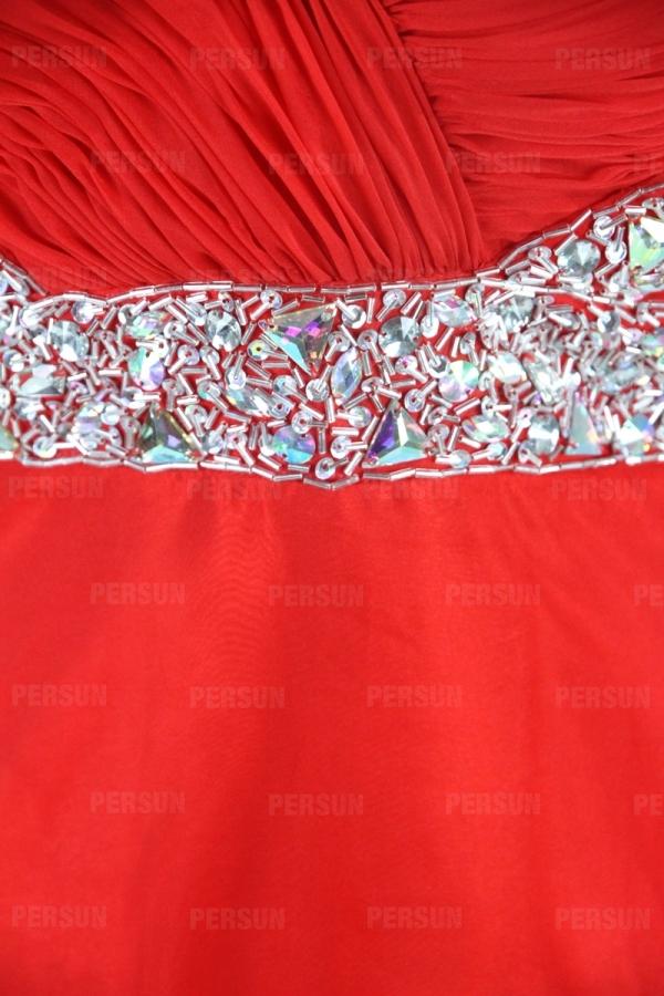 Robe longue strassée bustier en cœur dos décollté en V avec mancheron