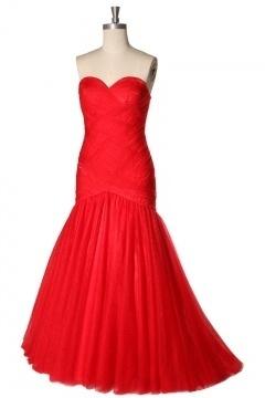 Organza Sweetheart Ruching Mermaid Long Formal Dress