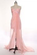 Chiffon Sweetheart Lace Applique Beading A line High Low Prom Dress