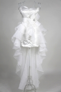 Organza Sweetheart Bow Ruffles High Low Formal Dress
