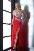 Sexy A-Linie lang Ein Schulter Abendkleid mit Schlitz verziert