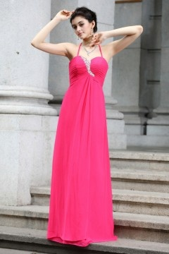 Sexy Halter Backless Floor Length Chiffon Rose Prom Dress