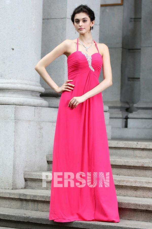 Robe de fête longue en mousseline rose fushia
