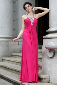 Halter Rhinestones Chiffon Long Rose Evening Dress UK