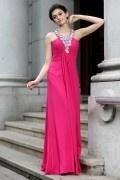 Corte A Escote en Y Rhinestones Volantes Gasa Hasta el Suelo Vestido de Noche|Prom Vestido