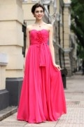 A line Empire Sweetheart Strapless Hand make Flower Ruching Belt Chiffon Long School Formal Dress
