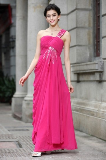 Dressesmall A line One Shoulder Radiation Tassel Beading Cowls Chiffon Long School Formal Dress