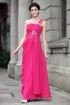 Elégante robe de gala asymétrique rose bonbon empire à jupe drapée