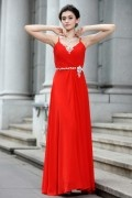 A line Spaghetti V neck Rhinestone Beading Ruching Chiffon Long School Formal Dress
