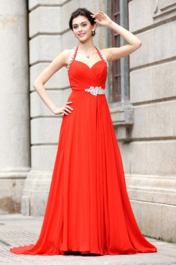 A line Empire Halter Sweetheart Ruching Carving Crystal Detailing Belt Chiffon Long Formal Dress Dressesmall