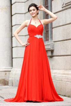 Sweetheart Halter Backless Court Train Long Red Evening Dress