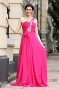 A line Empire Rhinestones Ruching Chiffon Floor Length Prom Dress