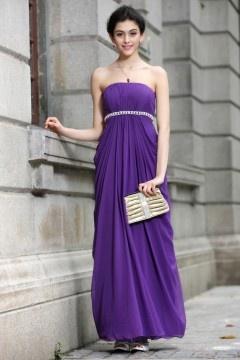 Robe simple violette bustier plissée longue Empire