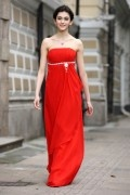 A line Empire Boat neck Strapless Ruching Belt Ruffle Chiffon Floor Length Prom Dress