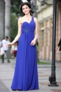 A line Empire One Shoulder Sweetheart Applique Beading Ruching Chiffon Floor Length Evening Dresses