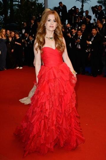 Dressesmall Isla Fisher A line Sweetheart Sleeveless Empire Organza Celebrity Dress