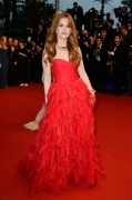 Isla Fisher A line Sweetheart Sleeveless Empire Organza Celebrity Dress