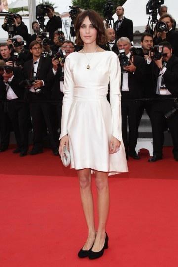 Robe courte de célébrité Alexa Chung simple à manche longue