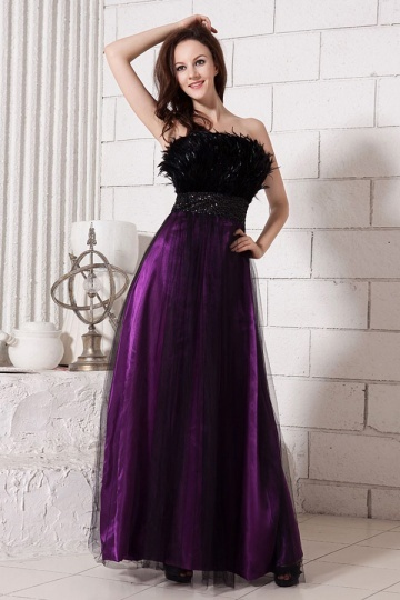 Dressesmall Gorgeous Tulle Strapless Ostrich Feathers Empire A line Long School Formal Dress
