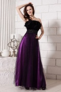 Gorgeous Tulle Strapless Ostrich Feathers Empire A line Long School Formal Dress