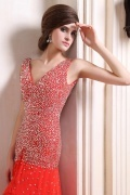 Luxurious Chiffon V neck Beading Split A line Long Prom Dress