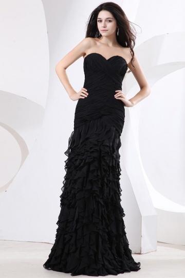 Vestido de noite preto bustiê coração pregueado e badado