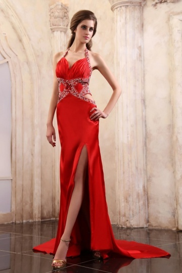 Dressesmall Elastic Woven Satin Halter Beading Ruching Long Formal Dress