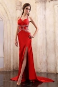 Elastic Woven Satin Halter Beading Ruching Long Formal Dress