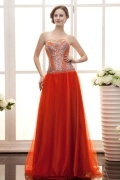 Tulle Strapless Beading A line Long Prom Dress