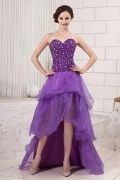 Beautiful Organza Sweetheart High Low School Formal Dress