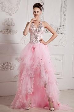 Sandbach Pink Tulle Halter High Low Prom Dress