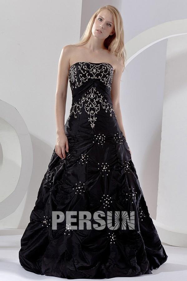 A-Linie gestickt bodenlang vintage schwarz Abendkleid