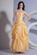 Taffeta Strapless Applique Ruching School Formal Dress