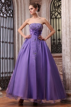 Ryde Purple Organza Strapless Empire Grad Dress