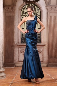 Rye Blue Ruched Hand made Flower Mermaid Prom Dress