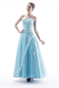 Saffron Walden Blue Lace Applique Prom Dress with Jacket